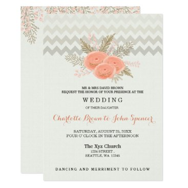 blush gold watercolor floral wedding invites