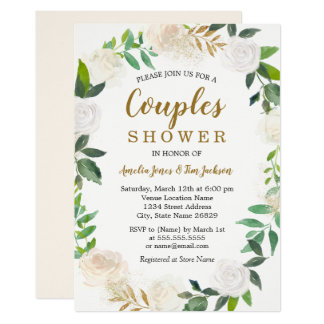 Blush Gold Watercolor Wreath Couples Shower Invitation