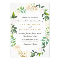 Blush Gold Watercolor Wreath Wedding Invitation