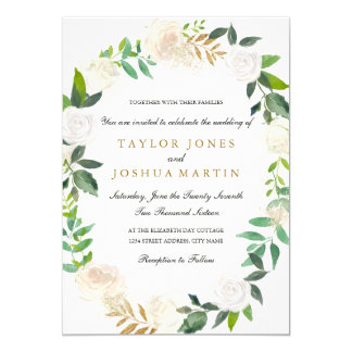 Blush Gold Watercolor Wreath Wedding Invitation