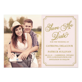 Blush Gold Whimsical Save the Date Announcement