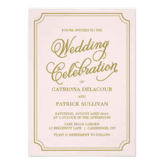 Blush & Gold Whimsical Script Wedding Invitation