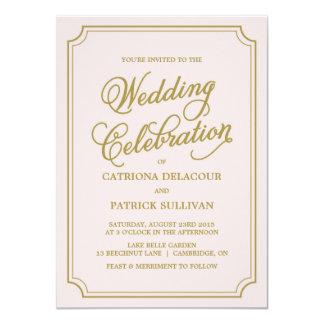 Blush & Gold Whimsical Script Wedding Invitation I