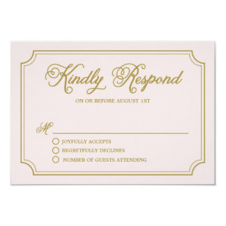 Blush & Gold Whimsical Script Wedding RSVP II Card