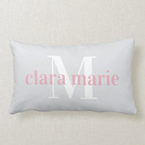 Blush & Gray | Name and Monogram Nursery Lumbar Pillow