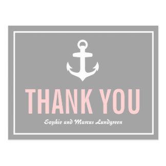Blush & Gray Nautical Thank You Postcard