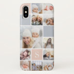 "Blush &amp; Gray Photo Collage &amp; Monogram iPhone X Case<br><div class=""desc"">Chic photo collage phone case features eleven of your favorite square photos in a gridded layout with contrasting squares in blush pink and neutral gray. Personalize with your single initial monogram in white.</div>"