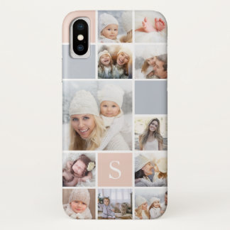Blush & Gray Photo Collage & Monogram iPhone X Case