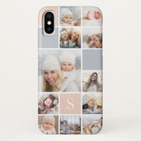 Blush & Gray Photo Collage & Monogram iPhone XS Case