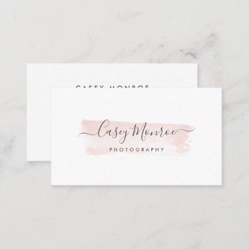 Blush  Gray Watercolor Signature Script Business Card