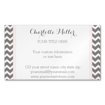 Professional Business Blush Grey Chevron Magnetic Business Card