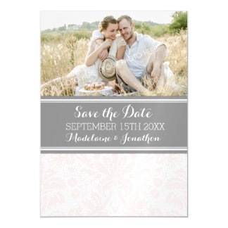 Blush Grey Damask Save The Date Magnetic Card