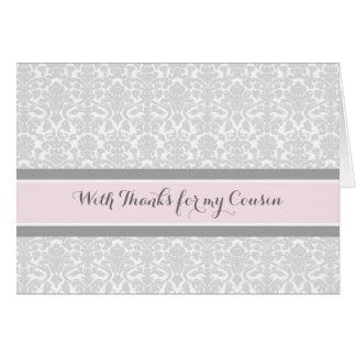 Blush Grey Damask Thank You Bridesmaid Cousin Card