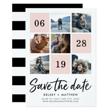 RedwoodAndVine Blush Grid Collage | Photo Save the Date Card