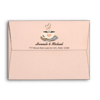 Blush Heart Coffee Cup Wedding Envelope