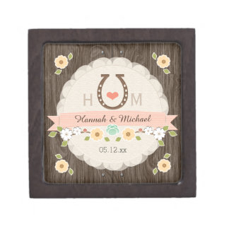 BLUSH Horseshoe Heart Western Wedding Keepsake Box