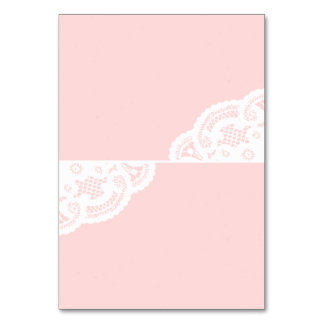 Blush Lace Doily Wedding Table Place Cards