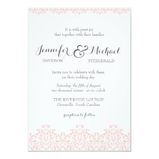 Blush Lace Elegant Wedding Invitation