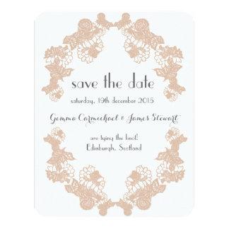 Blush Lace Trim Save The Date Card