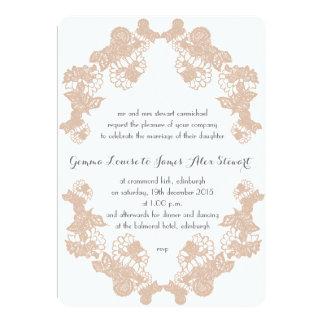 Blush Lace Trim Wedding Invitation