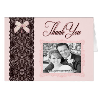 Blush Lace Wedding Thank You Card