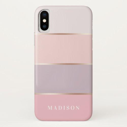 Blush & Lavender Rose Gold Wide Stripes Phone Case