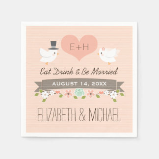 Blush Love Bird Dove Wedding Paper Napkin