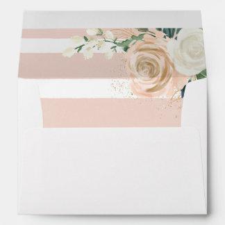 Blush Modern Stripes Floral Elegant Envelope