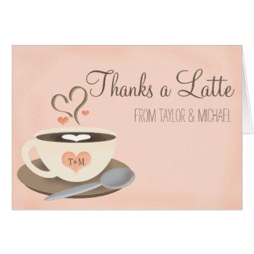 Coffee Themed Blush Monogram Heart Coffee Cup Wedding Thank You Card