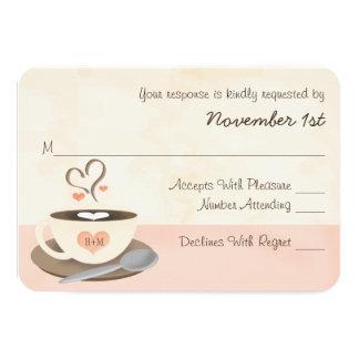 Blush Monogram Heart Coffee Wedding RSVP Cards