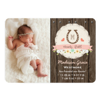 Blush Monogram Horseshoe Western Baby Announcement