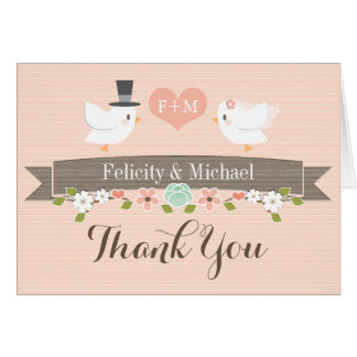 BLUSH MONOGRAM LOVE BIRDS DOVE WEDDING THANK YOU STATIONERY NOTE CARD