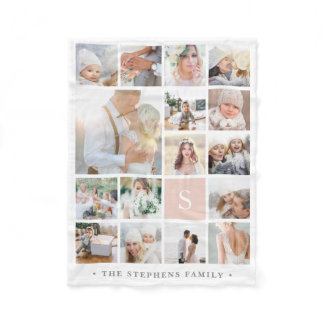 Blush Monogram Photo Collage Fleece Blanket