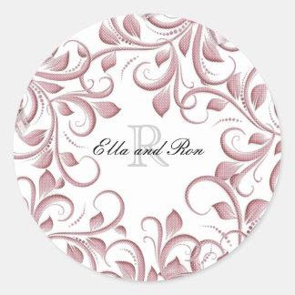 Blush Monogram Wedding Stickers & Envelope Seals