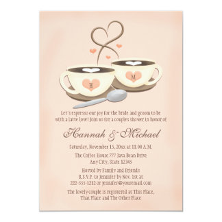 Blush Monogrammed Coffee Cup Heart Couples Shower 5x7 Paper Invitation Card