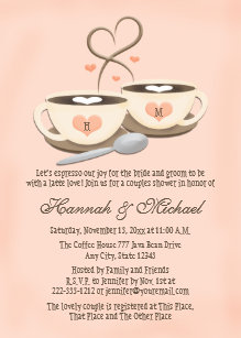 87a489e3509 Blush Monogrammed Coffee Cup Heart Couples Shower Invitation