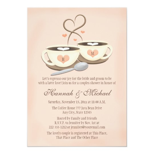 ec0fb94ed75 Blush Monogrammed Coffee Cup Heart Couples Shower Invitation ...