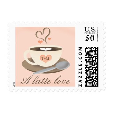 Coffee Themed Blush Monogrammed Coffee Cup Latte Love Wedding Postage