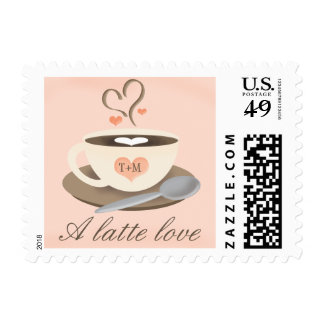 Blush Monogrammed Coffee Cup Latte Love Wedding Postage Stamp