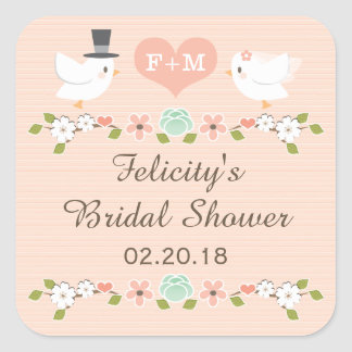 BLUSH MONOGRAMMED DOVE LOVE BIRDS BRIDAL SHOWER SQUARE STICKERS