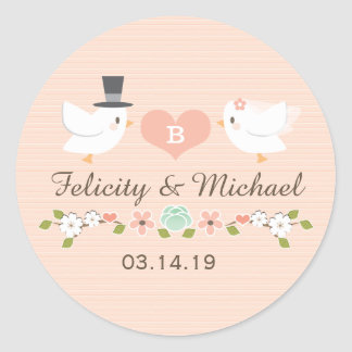 BLUSH MONOGRAMMED DOVE LOVE BIRDS WEDDING CLASSIC ROUND STICKER