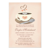 Blush Monogrammed Heart Coffee Cup Bridal Shower Card