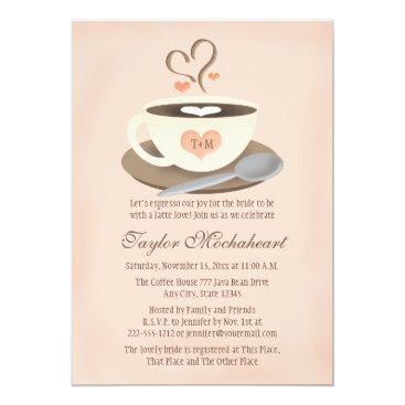 Coffee Themed Blush Monogrammed Heart Coffee Cup Bridal Shower Card