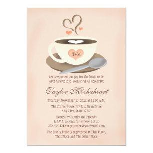 c7ff665ceb04 Blush Monogrammed Heart Coffee Cup Bridal Shower Invitation