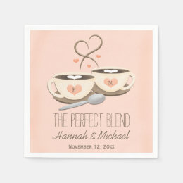 Blush Monogrammed Heart Coffee Cups Wedding Paper Napkin