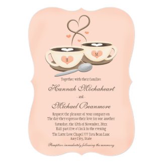 Blush Monogrammed Heart Two Coffee Cups Wedding 5x7 Paper Invitation Card