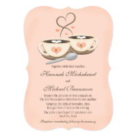 Blush Monogrammed Heart Two Coffee Cups Wedding Card
