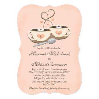 Blush Monogrammed Heart Two Coffee Cups Wedding Invitation