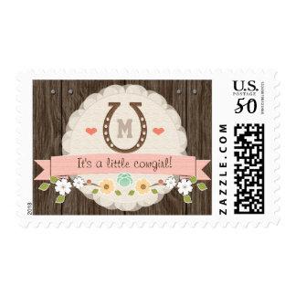 Blush Monogrammed Horseshoe Baby Girl Postage