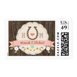 Blush Monogrammed Horseshoe Wedding Postage